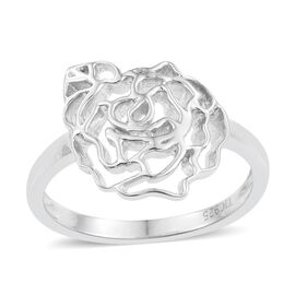 Kimberley Bloom Collection Platinum Overlay Sterling Silver Floral Ring, Silver wt 3.70 Gms.