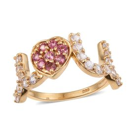 Mahenge Pink Spinel (Rnd), Natural Cambodian Zircon Love Heart Ring in 14K Gold Overlay Sterling Silver 1.500 Ct.