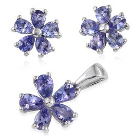 Tanzanite (Pear) Floral Pendant and Floral Stud Earrings (with Push Back) in Platinum Overlay Sterling Silver 2.500 Ct.