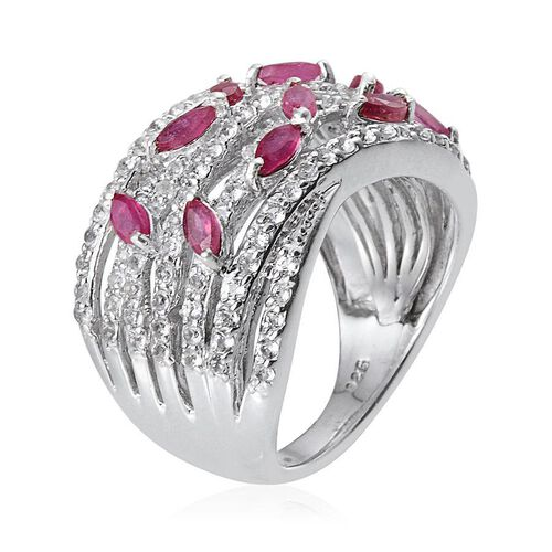 African Ruby (Mrq), White Topaz Ring in Platinum Overlay Sterling Silver 2.000 Ct.