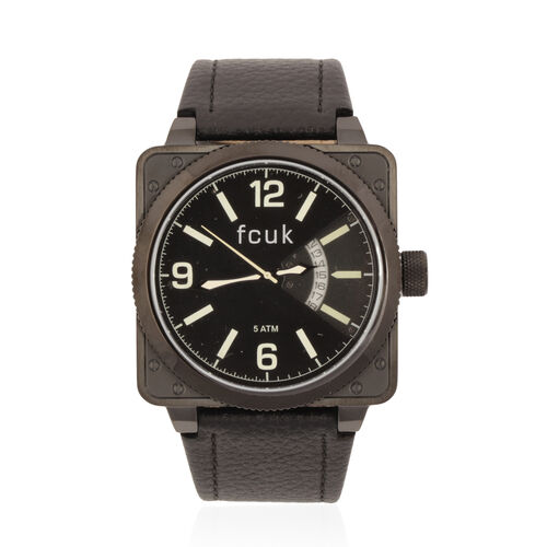 Black Case Black Dial Green Print FCUK Wrist Watch