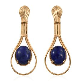 Lapis Lazuli (Ovl) Earrings (with Push Back) in 14K Gold Overlay Sterling Silver 5.250 Ct.