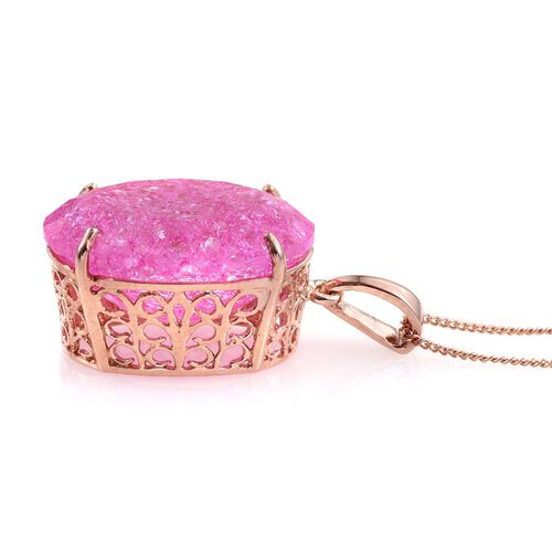 Hot Pink Crackled Quartz (Ovl) Pendant With Chain in Rose Gold Overlay Sterling Silver 16.500 Ct.