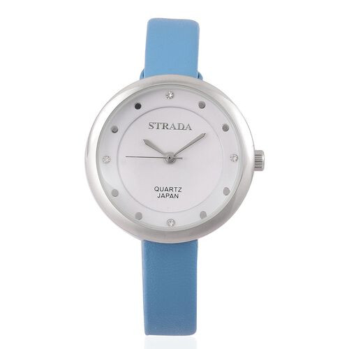 STRADA Japanese Movement White Austrian Crystal Watch with Blue Colour Band and Stainless Steel Back