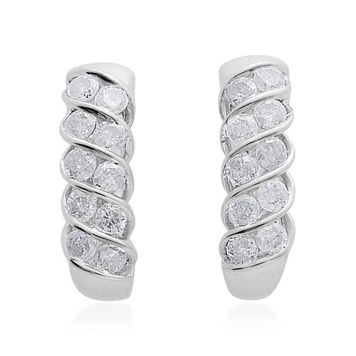 9K W Gold SGL Certified Diamond (Rnd) (I3/ G-H) Earrings (with Push Back) 1.000 Ct.