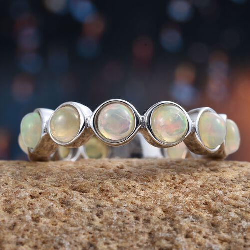 Ethiopian Welo Opal (Rnd) Full Eternity Ring in Platinum Overlay Sterling Silver 1.750 Ct.