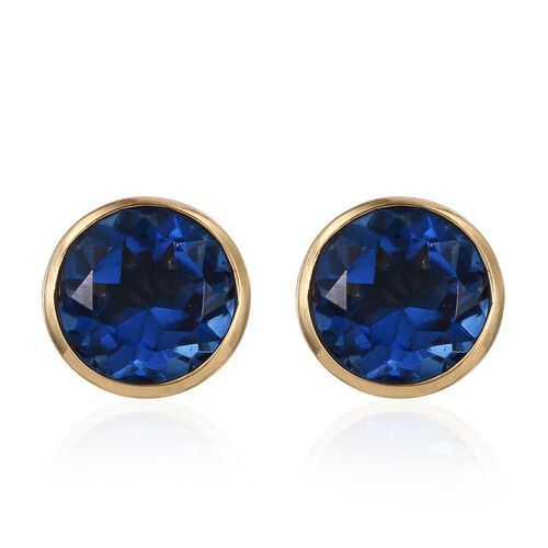 Ceylon Colour Quartz (Rnd) Stud Earrings (with Push Back) in 14K Gold Overlay Sterling Silver 4.500 Ct.