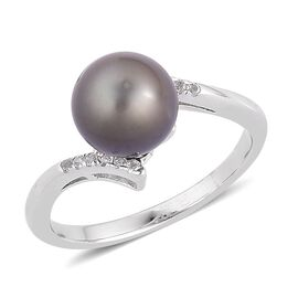 Tahitian Pearl (Rnd 9.5-10mm), White Topaz Ring in Platinum Overlay Sterling Silver