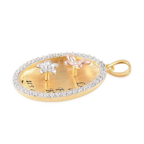 ELANZA AAA Simulated White Diamond Love Inscription Pendant with Flower and Butterfly in Rhodium, Yellow Gold and Rose Gold Overlay Sterling Silver