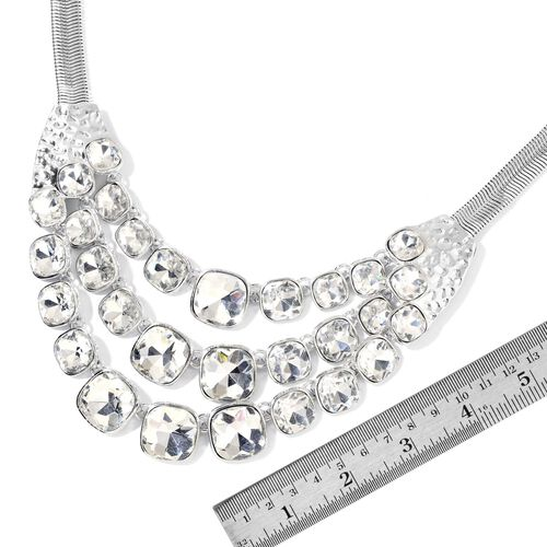Simulated White Diamond Watertfall Necklace (Size 22 with 2 inch Extender) in Silver Tone