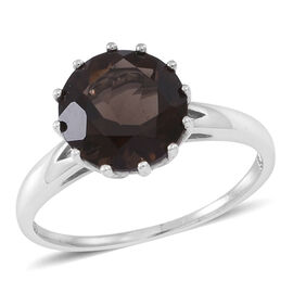 Brazilian Smoky Quartz (Rnd) Solitaire Ring in Rhodium Plated Sterling Silver 3.750 Ct.