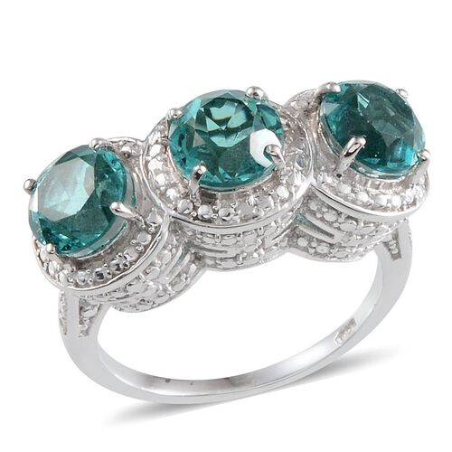 Paraiba Tourmaline Colour Quartz (Rnd), Diamond Ring in Platinum Overlay Sterling Silver 4.540 Ct.