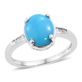 Arizona Sleeping Beauty Turquoise (Ovl), Diamond Ring in Platinum Overlay Sterling Silver 2.000 Ct.