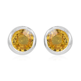 ILIANA 18K White Gold 1 Carat AAA Yellow Sapphire Stud Earrings (with Screw Back)
