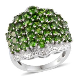 Russian Diopside (Rnd), Diamond Cluster Ring in Platinum Overlay Sterling Silver 5.050 Ct.