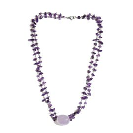 Summer Special DOD - Rose Quartz and Amethyst Necklace (Size 18) in Silver Tone 53.600 Ct.