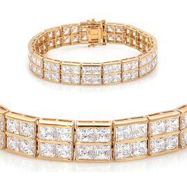 J Francis - 14K Gold Overlay Sterling Silver (Sqr) Bracelet Made with SWAROVSKI ZIRCONIA (Size 7.5) 51.120 Ct.