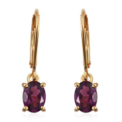 Rare Mozambique Grape Colour Garnet (Ovl) Lever Back Earrings in 14K Gold Overlay Sterling Silver 2.000 Ct.