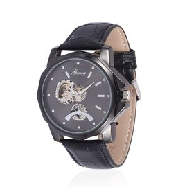 GENOA Automatic Skeleton Black Dial Water Resistant Watch in ION Plated Black with Stainless Steel Back and Black Leather Strap
