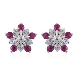 9K W Gold Burmese Ruby (Rnd), Natural Cambodian Zircon Stud Earrings (with Push Back) 1.500 Ct.