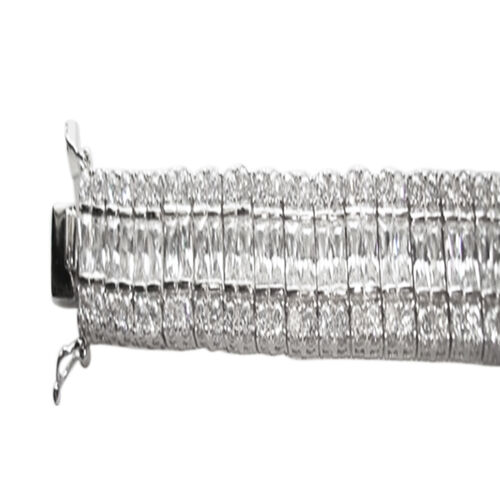 ELANZA AAA Simulated Diamond (Bgt) Bracelet in Rhodium Plated Sterling Silver (Size 8)