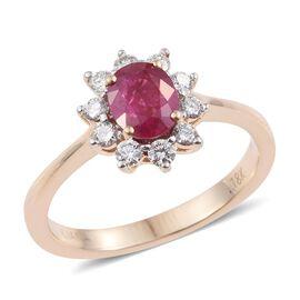 ILIANA 18K Y Gold Burmese Ruby (Ovl 1.05 Ct), Diamond Ring 1.400 Ct.