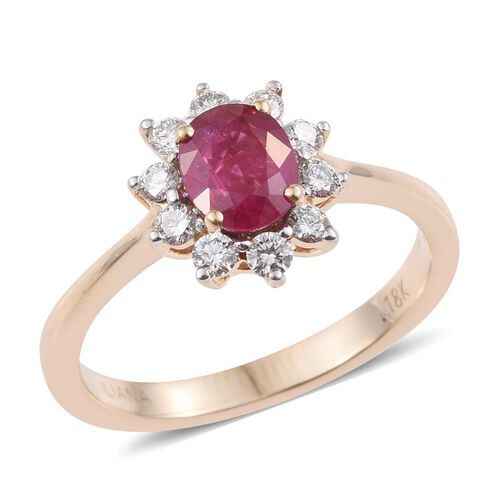 ILIANA 18K Y Gold Burmese Ruby (Ovl 1.05 Ct), Diamond Ring 1.400 Ct.