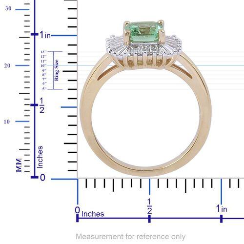 ILIANA 18K Y Gold Boyaca Colombian Emerald (Oct 0.90 Ct), Diamond Ring 1.500 Ct.
