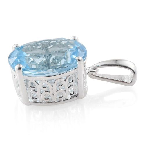 Sky Blue Topaz (Ovl) Solitaire Pendant in Sterling Silver 4.000 Ct.