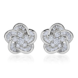 ILIANA 18K White Gold 1 Carat Diamond Floral Stud Earrings IGI Certified SI G-H with Screw Back.