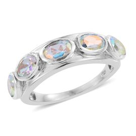 Mercury Mystic Topaz (Ovl) 5 Stone Ring in Platinum Overlay Sterling Silver 2.500 Ct.