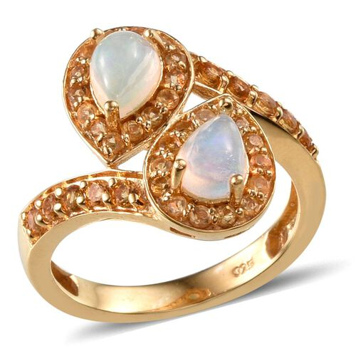 Ethiopian Welo Opal (Pear), Citrine Ring in 14K Gold Overlay Sterling Silver 1.750 Ct.