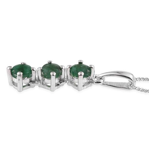 Brazilian Emerald (Rnd) Trilogy Pendant With Chain in Platinum Overlay Sterling Silver 0.500 Ct.