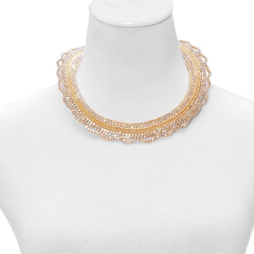 (Option 5) White Austrian Crystal Necklace (Size 18 with 2 inch Extender) in Gold Tone