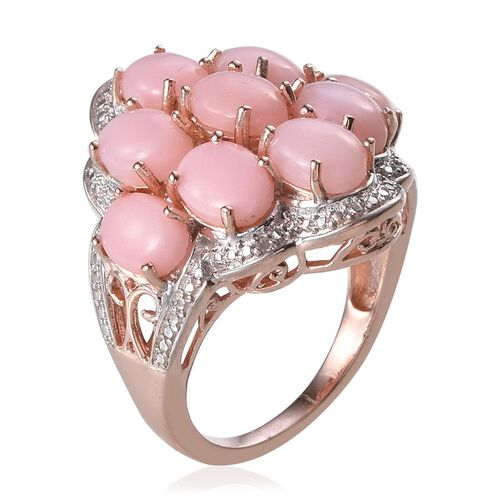 Peruvian Pink Opal (Ovl), Diamond Ring in Rose Gold Overlay Sterling Silver 5.020 Ct.