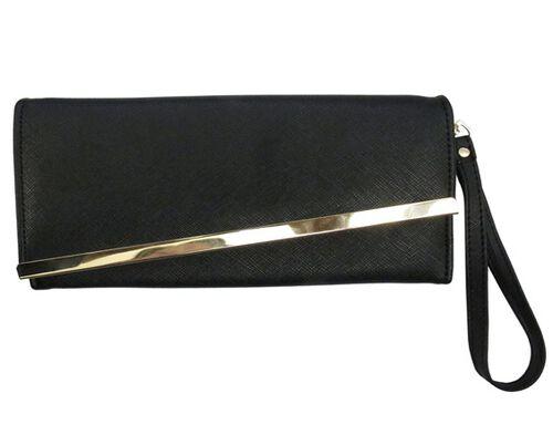Gold Bar Jade Black Colour Long Wallet (Size 19x10 Cm)