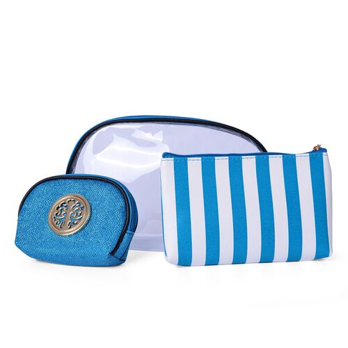 Set of 3 - Transparent Large (Size 26x15x6 Cm), Blue and White Stripe Pattern Medium (Size 19x12.5x2.5 Cm) and Blue Colour Small Cosmetic Bag (Size 14x10x4 Cm)