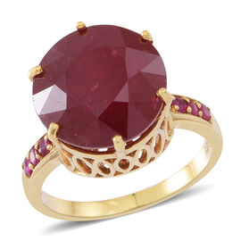 African Ruby (Rnd), Burmese Ruby Ring in 14K Gold Overlay Sterling Silver 15.000 Ct.