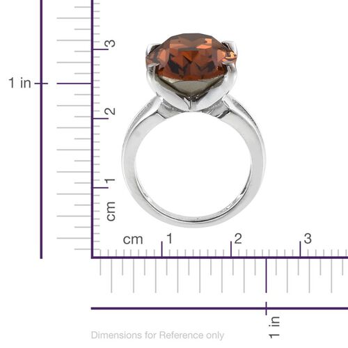 Crystal from Swarovski - Smoked Topaz Colour Crystal (Ovl) Ring in ION Plated Platinum Bond