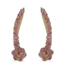 Pink Sapphire (Rnd) Floral Climber Earrings in 14K Gold Overlay Sterling Silver 1.750 Ct.