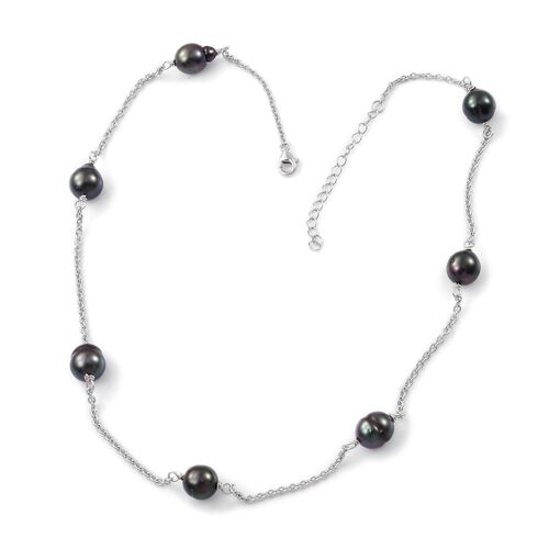Tahitian Pearl (9.5-10mm) Station Beads Necklace (Size 18 with 2 inch Extender) in Platinum Overlay Sterling Silver