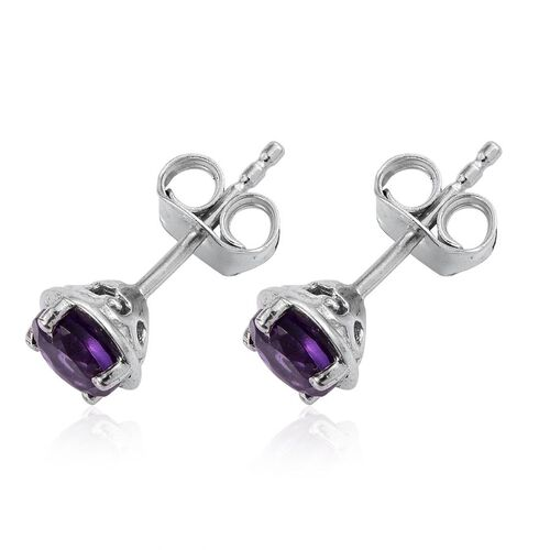 Natural Uruguay Amethyst (Rnd) Stud Earrings (with Push Back) in Platinum Overlay Sterling Silver 1.000 Ct.