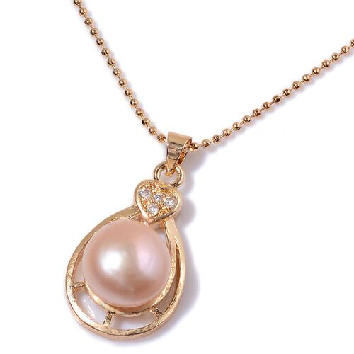 Fresh Water Purple Pearl and Simulated White Diamond Pendant With Chain (Size 20) in Gold Tone with Stainless Steel