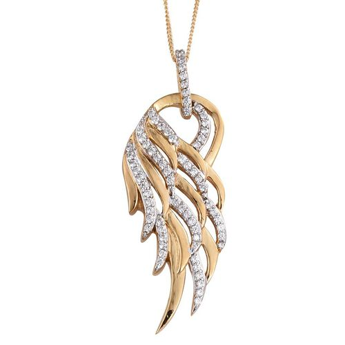 J Francis - 14K Gold Overlay Sterling Silver (Rnd) Feather Pendant With Chain Made with SWAROVSKI ZIRCONIA