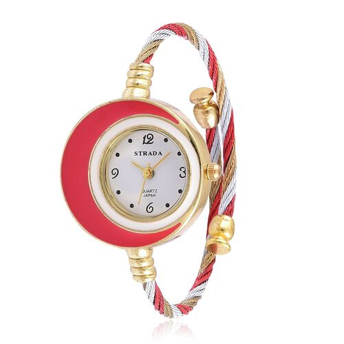 STRADA Japanese Movement White Dial Water Resistant Red Colour Bangle Watch in Gold Tone with Stainless Steel Back