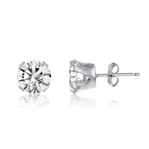 White Topaz (Rnd) Stud Earrings (with Push Back) in Sterling Silver 3.250 Ct.