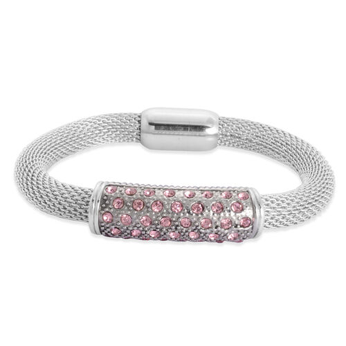 Pink Austrian Crystal Bracelet in Stainless Steel (Size 8.5)