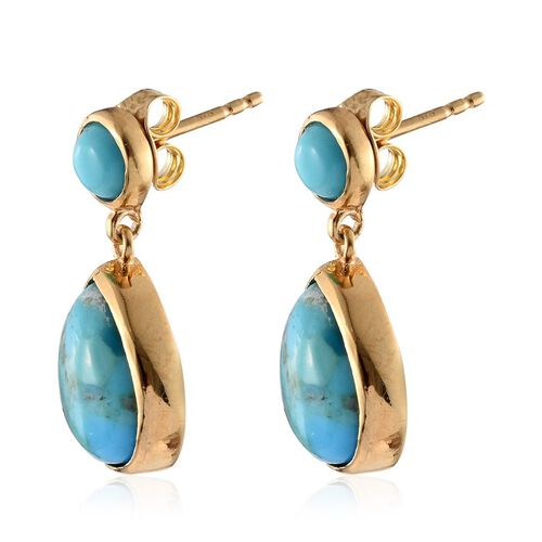 Arizona Matrix Turquoise (Pear), Sonoran Turquoise Earrings (with Push Back) in 14K Gold Overlay Sterling Silver 7.500 Ct.