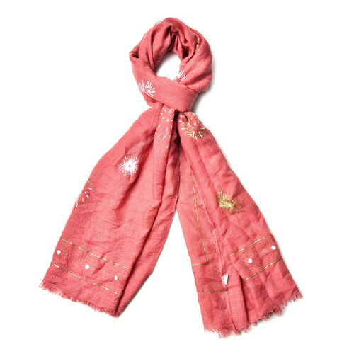 Designer Inspired- Fire Work Pattern Pink Colour Scarf (Size 180x70 Cm)
