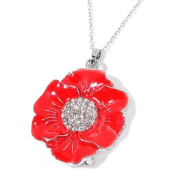 TJC Poppy Designs Red Enamelled and White Austrian Crystal Floral Pendant with Chain (Size 20) in Silver Tone